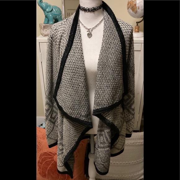 Gray & Black Sweater Coat cardigan Small